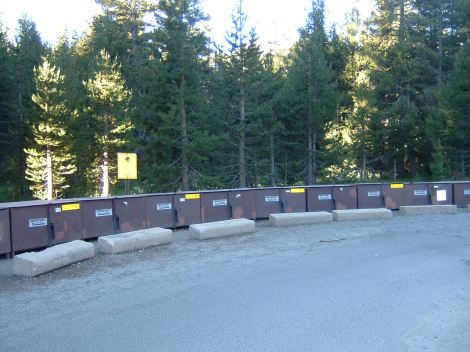 Bear boxes at Tuolumne trail head
