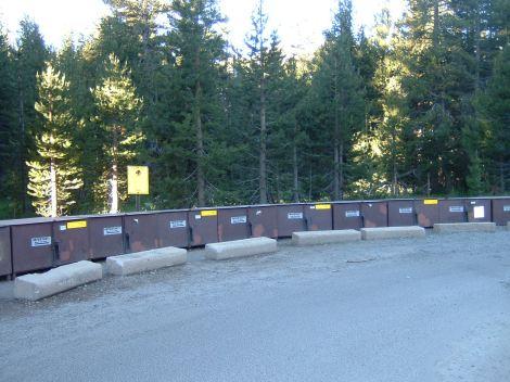 Bear boxes at Tuolumne trail head