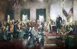 The Signing of the Constitution of the United States, with George Washington, Benjamin Franklin, and Thomas Jefferson at the Constitutional Convention of 1787; oil painting on canvas by Howard Chandler Christy, 1940. The painting is 20 by 30 feet and hangs in the United States Capitol building. (Photo by GraphicaArtis/Getty Images)